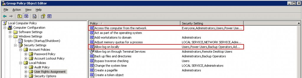 Local Group Policy - User Right Assignments
